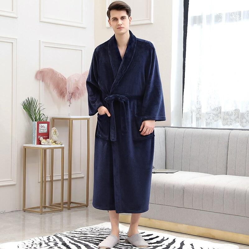 Мужчины зима плед большие размер длинные коралловый флис халат 40-130 кг теплый фланель ванна халат кимоно халаты халат халат ночь одежда для сна