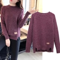 women sweaters and pullovers autumn winter long sleeve pull femme solid pullover women casual knitted sweater