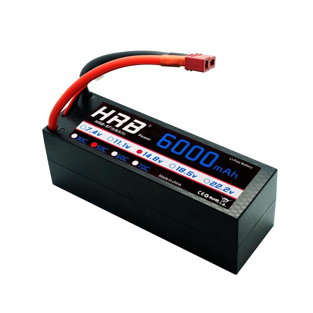 Hrb 4S lipo 14.8 v 6000 mah rc bateria 50c-100c hardcase xt60 deans conector para traxxas x-maxx 1:10 carros caminhão losi redcat 1:8