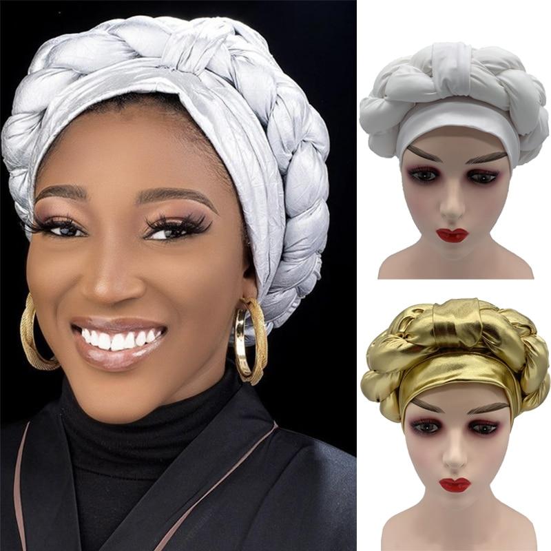 AliExpress - 2021 Lastest Muslim Turban Caps for Women Already Made African Auto Gele Headtie Braids Female Head Wraps Bonnet Nigerian Gele