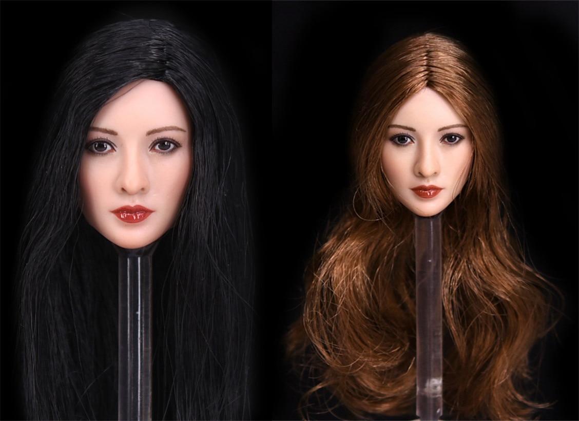 1/6 Asian Girl Black/Brown Long Hair Head Sculpture PVC Carving Model Fit 12