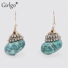 Girlgo Bohemian Fashion Summer Shell Drop Earrings for Women 2020 Vintage Hanging Dangle Pendant Earrings Jewelry Gift Wholesale