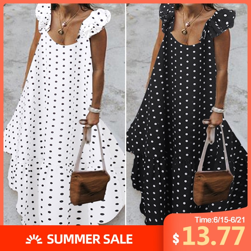 ZANZEA 2020 verano vestido de leopardo para mujeres bohemio Polka estampado Maxi vestido Casual mujer sin mangas vestido largo volantes Vestidos
