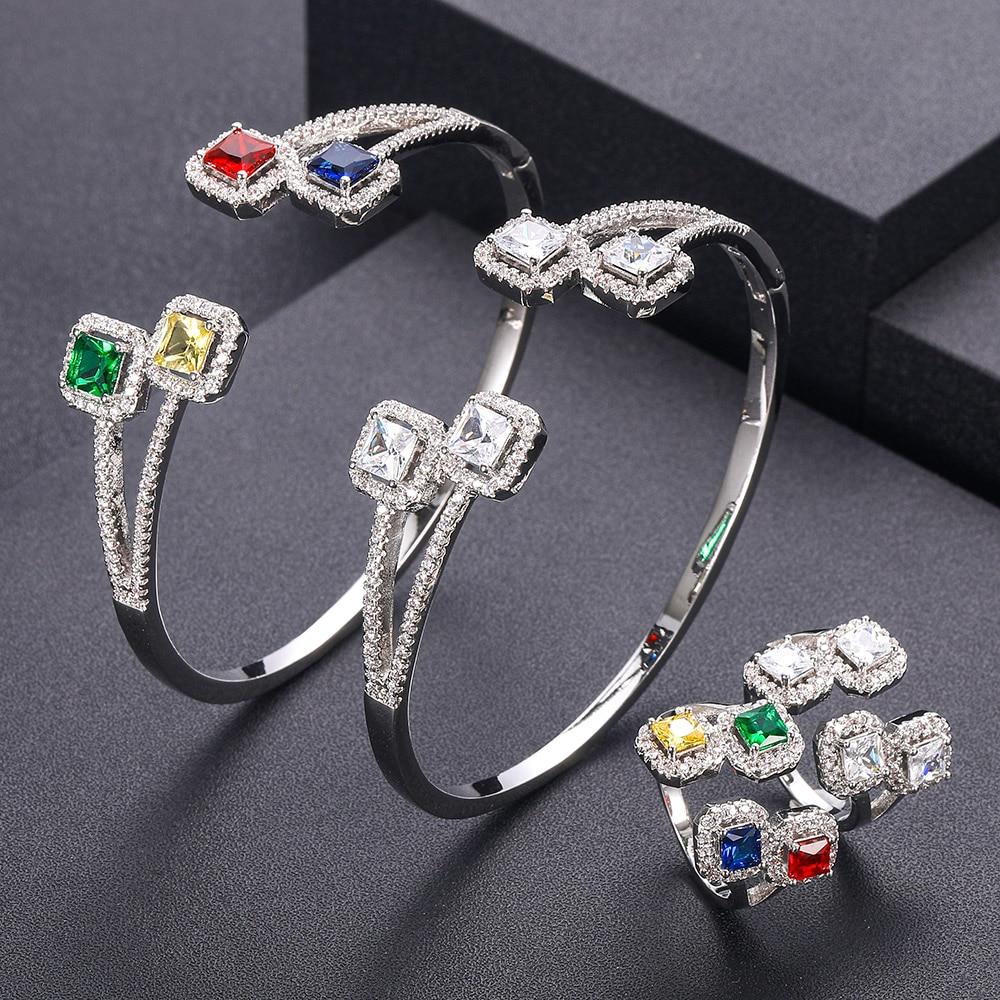 jankelly  Luxury Square shap African Bangle Ring Set Fashion Bracelet Sets For Women Wedding Engagement brincos para as mulheres