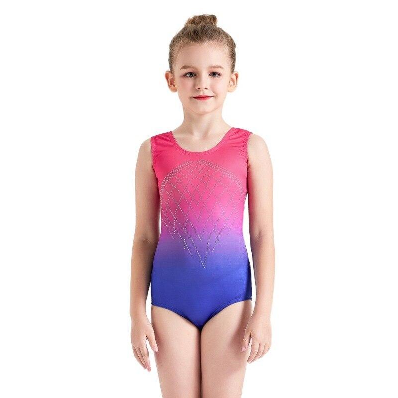COCKCON 2019 nuevo Ballet niñas/baile/Skate leotardo de Gimnasia Rítmica/leotardos acrobático de diamantes de imitación de los niños ropa F1