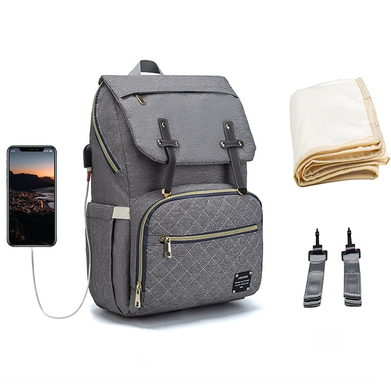 Nappy Backpack Bag Gray Mummy Large Capacity Stroller Bag Mom Baby Multi-function Waterproof Outdoor Travel Diaper Bags