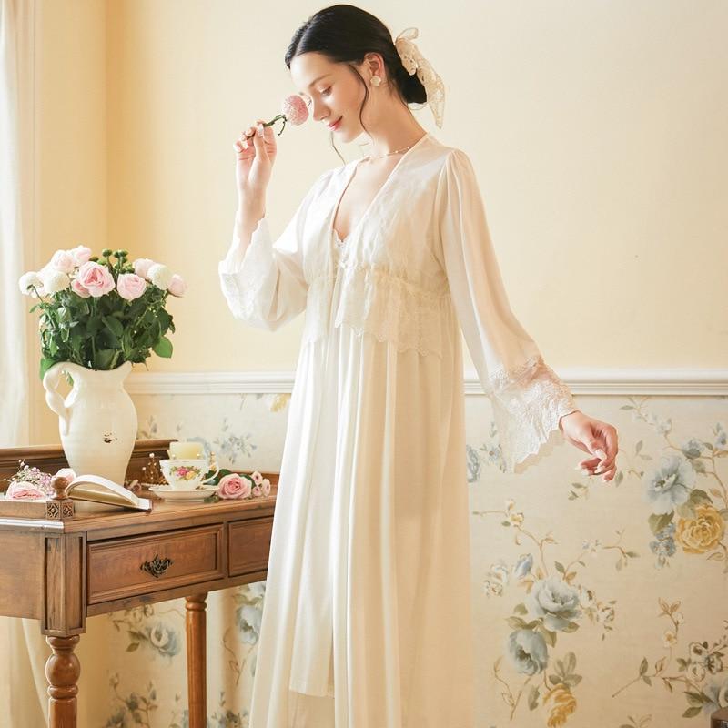 الإناث طويلة الأكمام القطن ثوب النوم دعوى المرأة الخريف الحمالة قميص النوم فضفاضة كبيرة الحجم الملابس المنزلية الحلو فستان