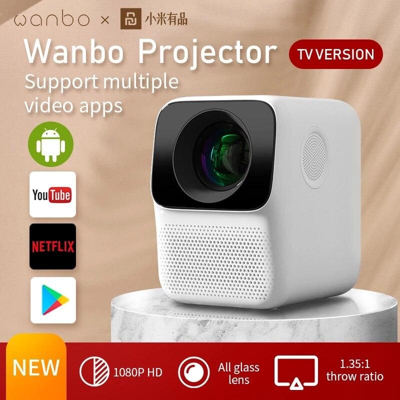 Портативный проектор глобальная версия Wanbo T2 MAX, 1080P, 1920*1080P, с вертикальной коррекцией изображений, для дома и офиса