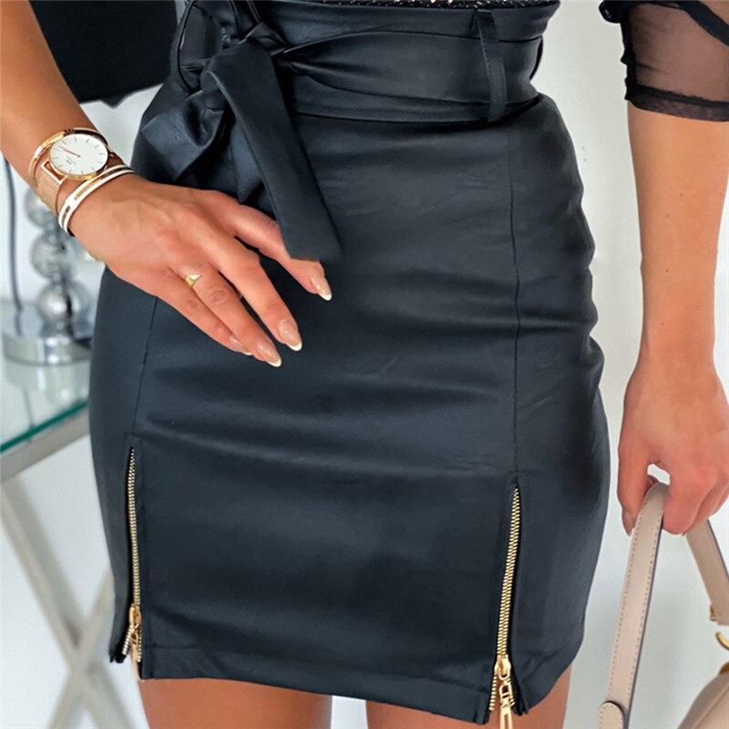 OL Formal Women PU Leather Pencil Bodycon Skirts 2020 Fashion Solid Femme Lady Bandage Zipper Slim High Waist Mini Skirt Clothes