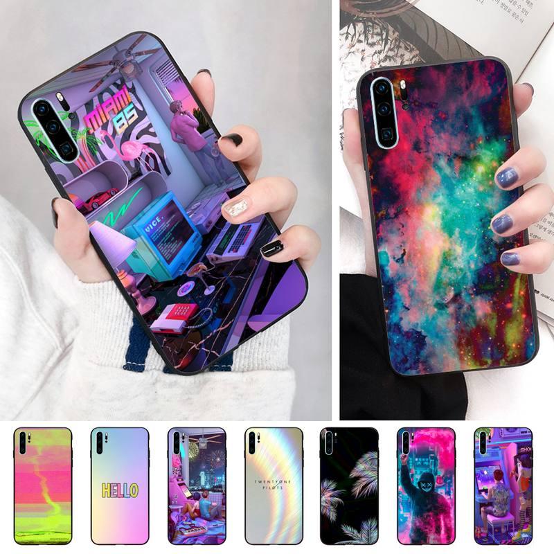 Imagen en Color negro Funda de teléfono de TPU blanda para Huawei P8 P9 P10 p20lite2019 P20 P30 PSMART caso
