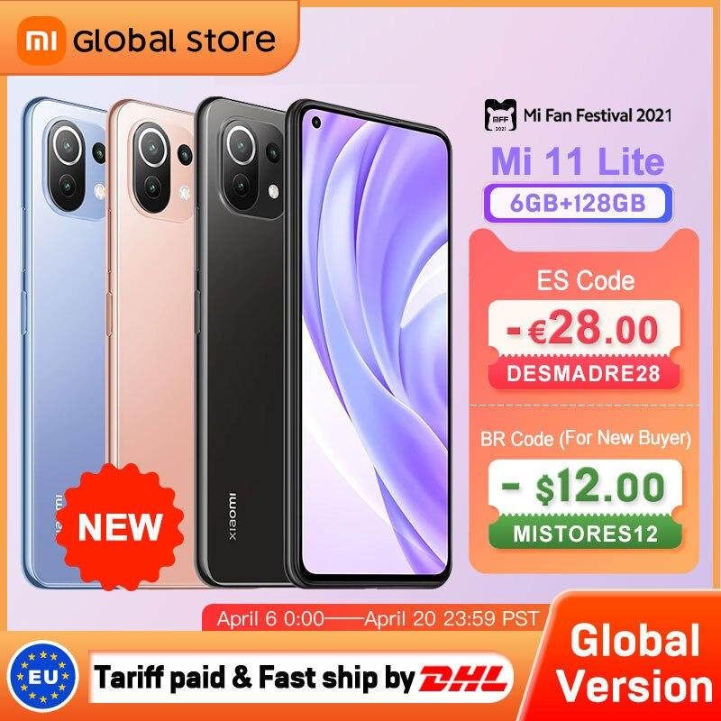 Перейти на Алиэкспресс и купить Глобальная версия смартфона Xiaomi Mi 11 Lite 6 ГБ 128 ГБ NFC 4G Восьмиядерный Snapdragon 732G Задняя камера 64MP 157g Light