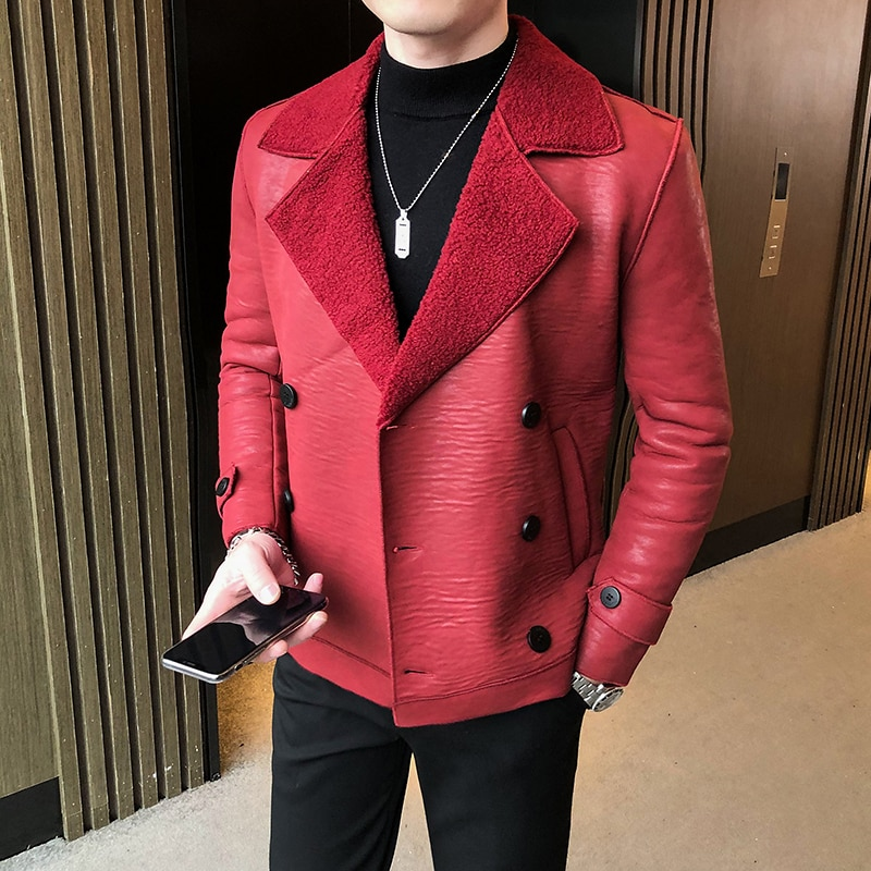 Leather 2021 Faux Men Jacket Leather Coat Autumn Winter Fleece-lined Thickened Double Breasted Fur Mens Fur Coat Mens Clothing