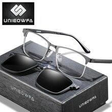 Магнитный зажим для очков, мужская оправа, поляризационные очки на застежке, мужские очки по рецепту, оптические очки в оправе при близорукости, очки