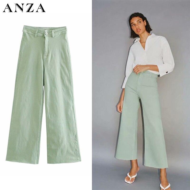 Za Frauen Jeans 2020 Neue High Street Mode mit Hoher Taille Solide Vintage Lose Jeans Grün Lange Denim Breite Bein hosen Für Frauen