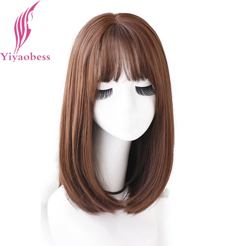 Yiyaobess Synthetic Straight Medium Long Wig Black Brown Chocolate Natural Hair Heat Resistant African American Wigs For Women