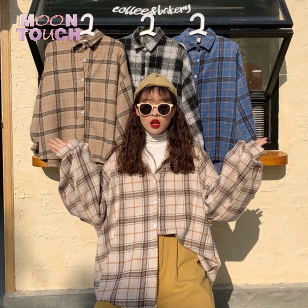Women Plaid Warm Shirt Female Jacket Checked Coat Casual Turn-down Collar Long Sleeve Autumn Blouse Fashion Loose Outwear Tops