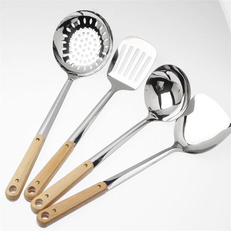 Punho de madeira wok espátula 304 espátula de aço inoxidável utensílios de cozinha colher alça longa tamanho grande turner frito bife pá