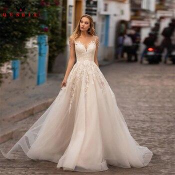 A-line Wedding Dresses Floor Length Tulle Lace Appliques Long Formal Elegant Bridal Gown 2022 New Design Custom Made DS62
