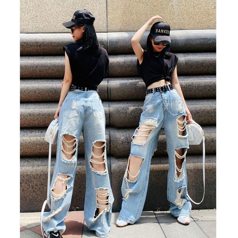 Рваные джинсы Varofi с высокой талией, свободные брюки с широкими штанинами, мешковатые джинсы y2k, мешковатые широкие джинсы, женские джинсы