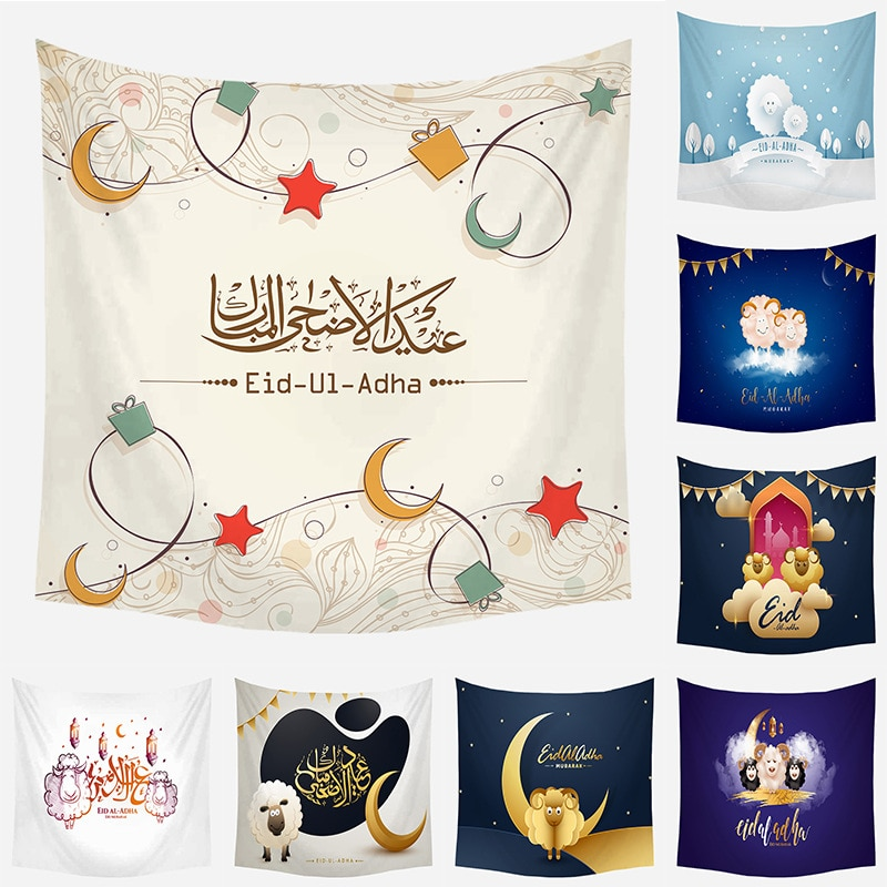 New Polyester Eid Al-Adha Tapestry Living Room Bedroom Tapestry Fabric Home Wall Painting Dorm Decor Home Decoration Wall