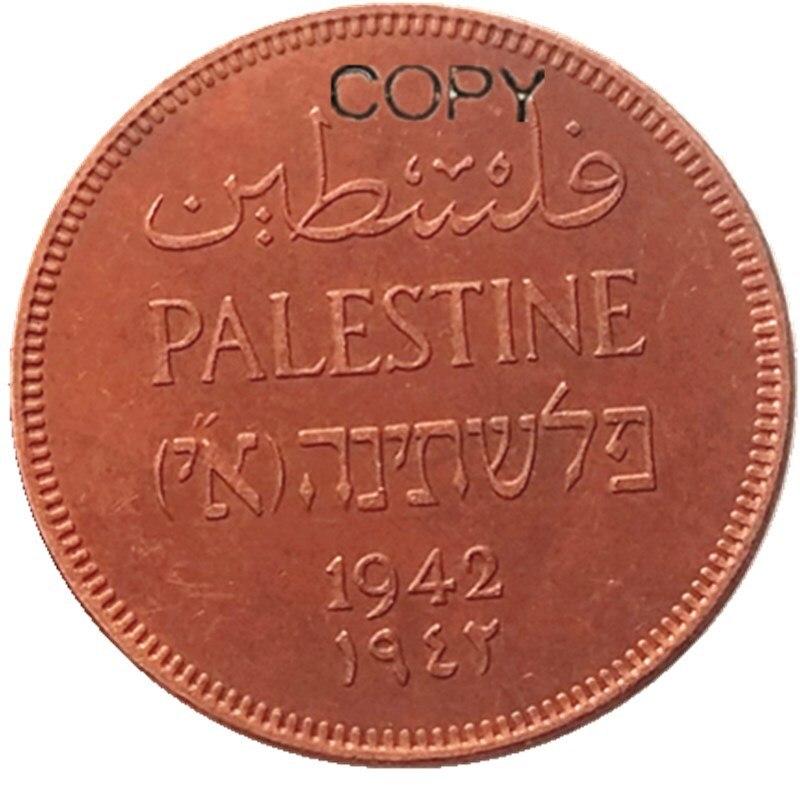 Palestina 1942 2 mils 100% cobre cópia moeda