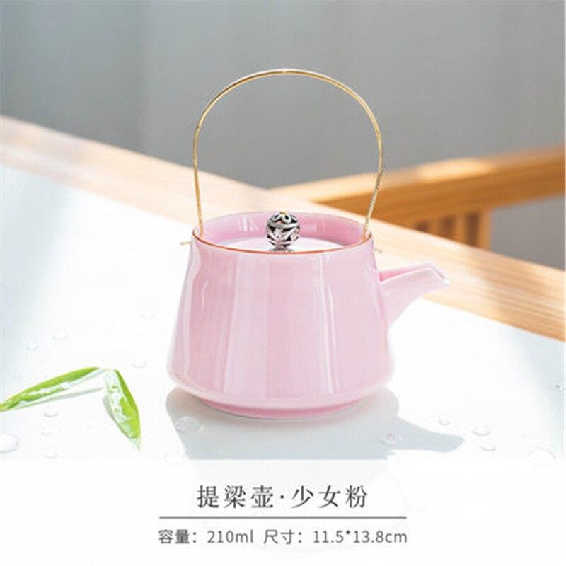 Tetera de cerámica de Celadon, accesorios de cocina, juego de té de Kung Fu japonés, Set de Tetera de flores tpt12