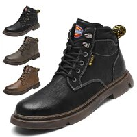mens high end leather outdoor casual martin boots fashionable wear resistant tooling boots autumn and winter motorcycle boots