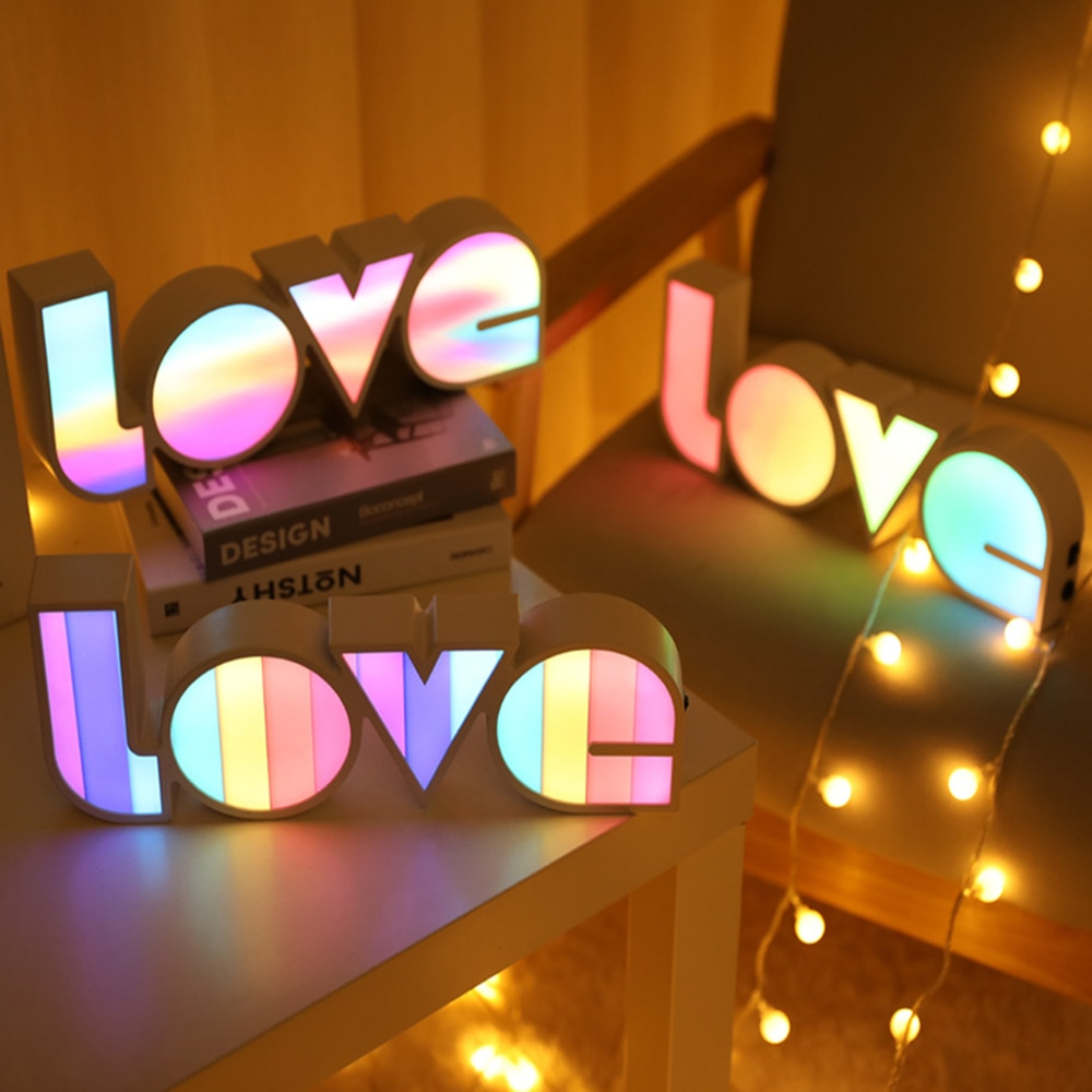 LOVE LED Night Light Kids Bedroom Desktop Home Decor Table Lamp Ornaments Battery/USB Operate Fairy Lights For Christmas Gifts enlarge