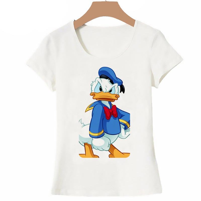 Camiseta de Mickey para mujer, verano 2019, camiseta de manga corta de Pato Donald, camiseta de diseño de dibujos animados