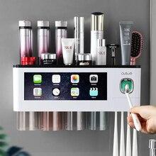 Portaspazzolino ad adsorbimento magnetico spremiagrumi automatico scaffali portaoggetti per la casa set di accessori per il bagno a parete