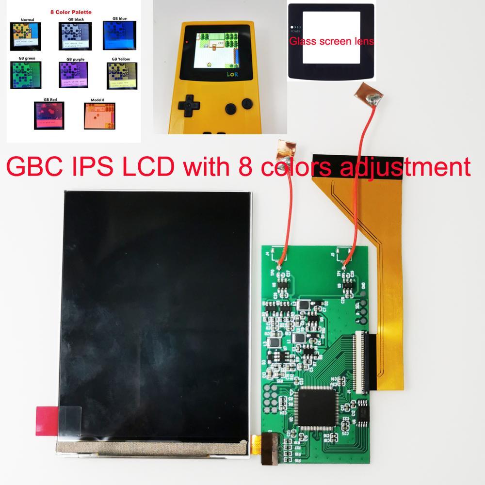شاشة كاملة GBC IPS LCD ، إضاءة خلفية لـ Gameboy Color ، نموذج قابل للتعديل مع مبيت مقطوع مسبقًا