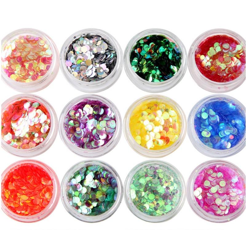 12box/set Nail Art Glitter Flake MIX 1MM;2MM;3MM  Round Flake Mermaid Gradient Spangle For Nails Art Decoration Polyester Flakes недорого