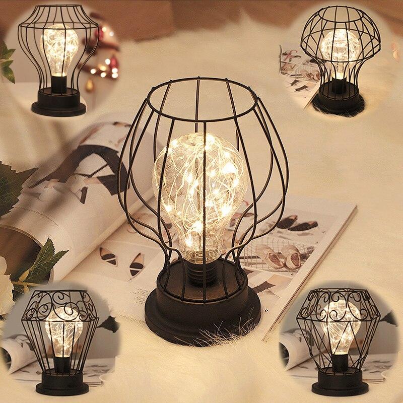 Decoración de escritorio lámpara de hierro forjado retro LED guirnalda de hadas lámpara de mesa dormitorio mesita de noche Jardín de Navidad estilo luz de noche