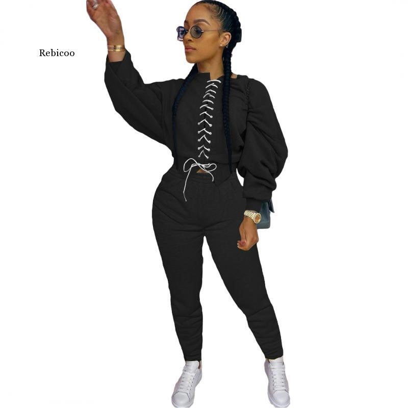 Casual Two Piece Set Autumn Clothes for Women Color Block Spliced Stacked Long Sleeve Crop Top+Sporty Jogger Trouser Sweatsuits