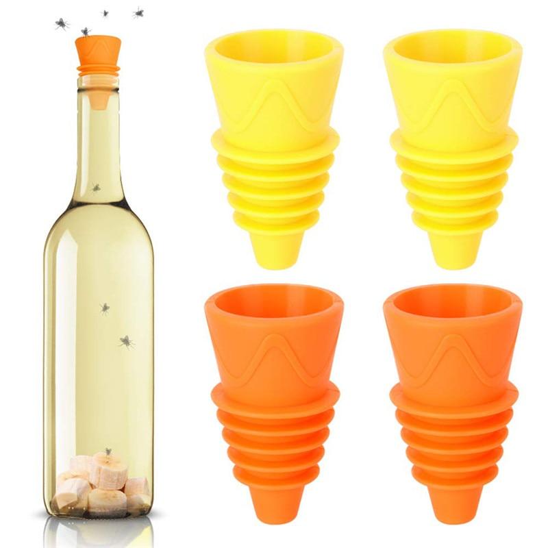 4/6/8pc Flexible Flies Trap Funnel Reusable Silicone Pest Control Fruit Flies Catcher Killer Home Ga