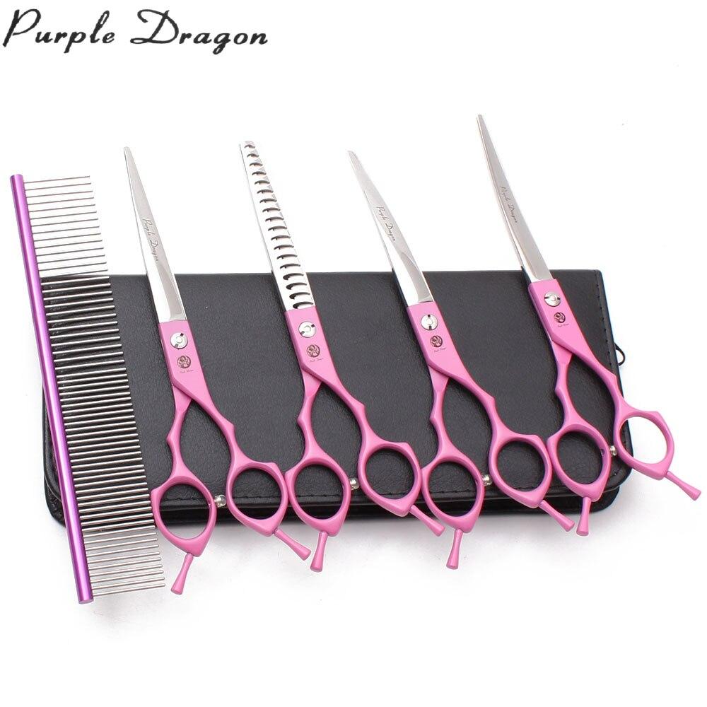 """Tijeras de aseo para mascotas Purple Dragon 7,0 """"JP tijeras de adelgazamiento de cachorros inoxidables 9029 # tijeras de pelo para perros tijeras de animales descanso de dedos"""