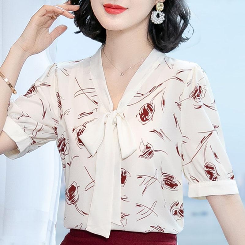 blusas mujer de moda 2020 blouse women short sleeve 3XL 4XL plus size blouse women tops V-neck print chiffon blouse shirts D127