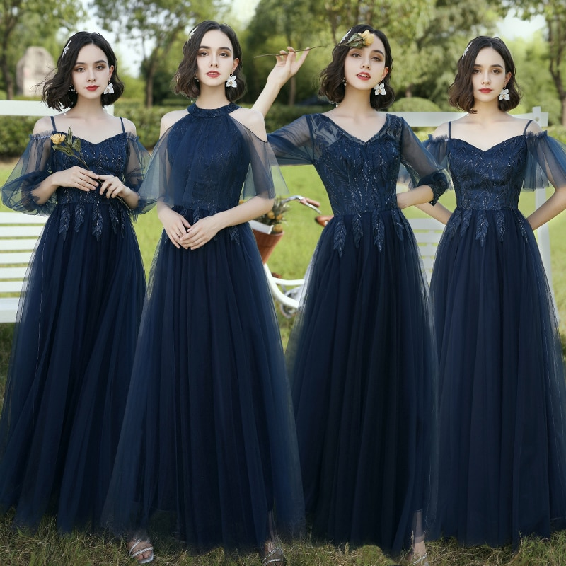 Sexy Bridesmaid Dresses Long 2021 New Dark Navy Summer Tulle Evening Dress For Wedding Party Cheap-wedding-dress Vestido De Gala