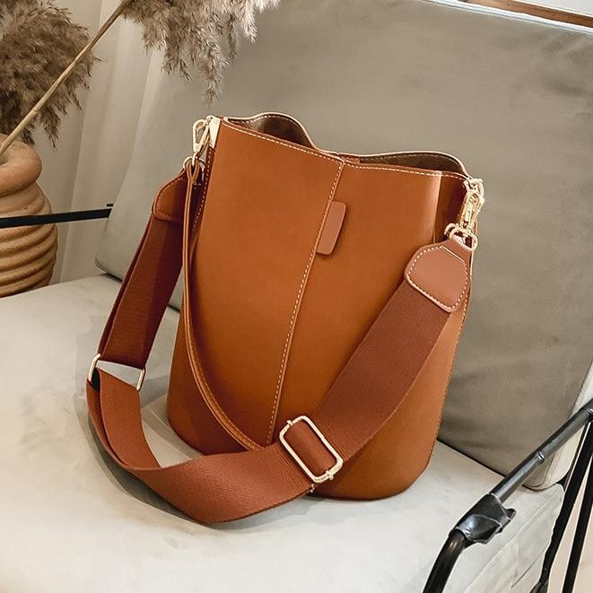 NIGEDU вместительные женские сумки-ведро с широким ремешком, дизайнерские женские сумки на плечо, роскошная матовая кожаная сумка-Кроссбоди д...