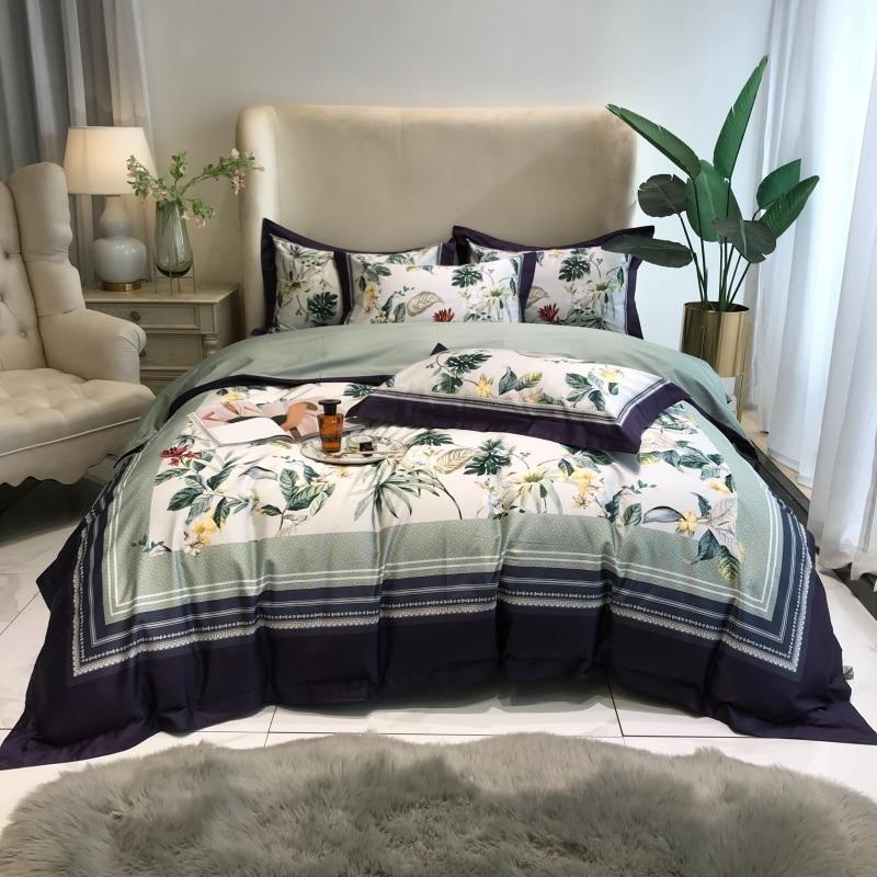 TUTUBIRD-طقم أغطية سرير مطبوع رقمي ، قطن مصري ، طقم سرير ، مع رسم أميرة ، مع غطاء لحاف فاخر ، 4 قطعة ، 1000