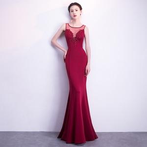 Evening Dresses Illusion O-neck Sleeveless Appliques Mermaid Floor-length Sex Plus size Burgundy Lady Formal Party Dress R1213