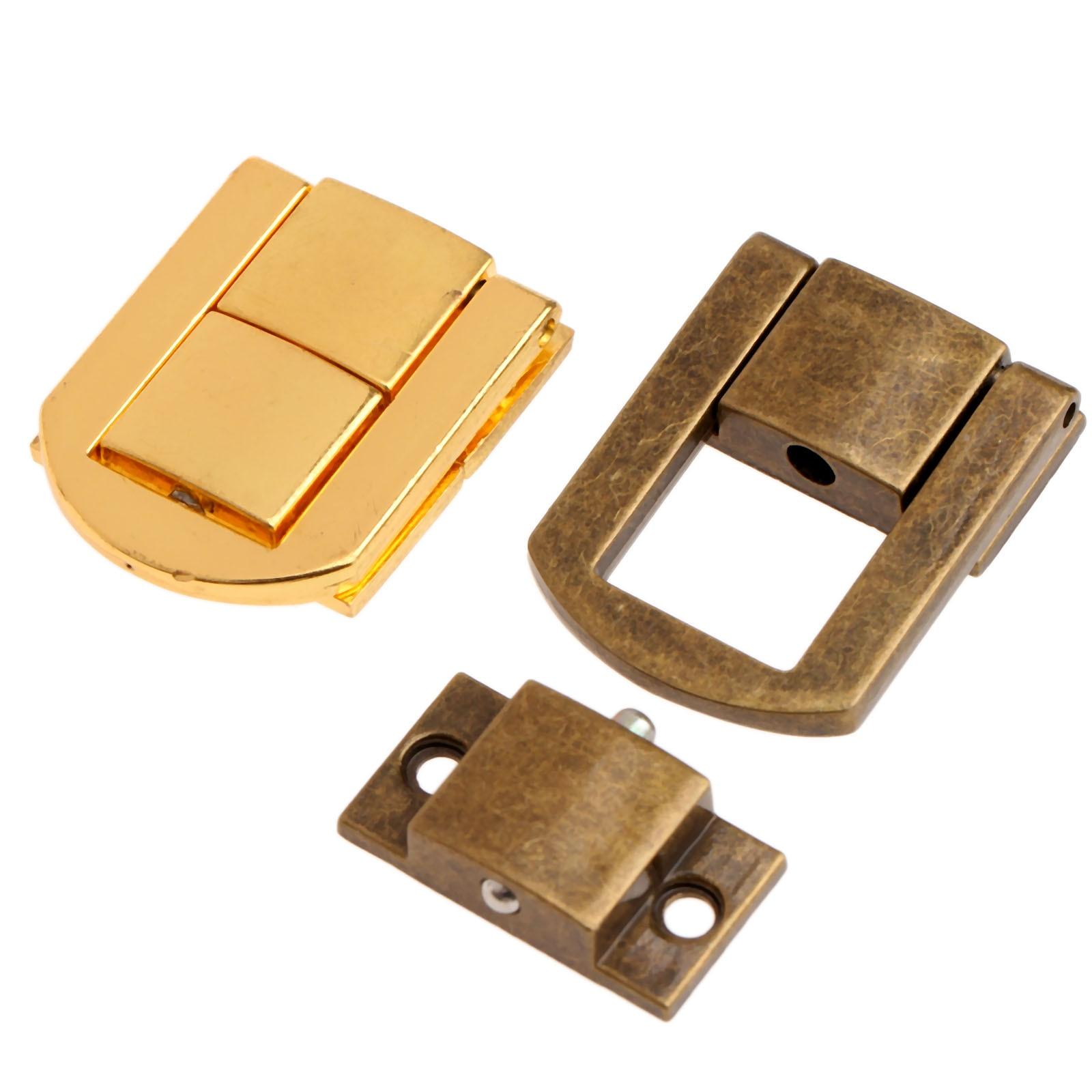 30mm 5 uds. Antiguo cerrojo para caja de Metal cierres de cierre para joyería caja de pecho hebilla para maleta cierre Vintage bronce/oro