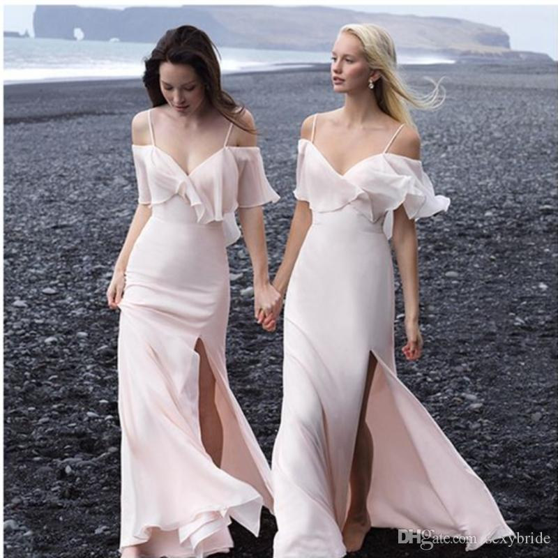 Sexy Chiffon Beach Wedding Bridesmaid Dress Side Split V Neck Sheath Zipper Spaghetti Straps Long Ev