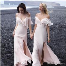 Sexy Chiffon Beach Wedding Bridesmaid Dress Side Split V Neck Sheath Zipper Spaghetti Straps Long Ev