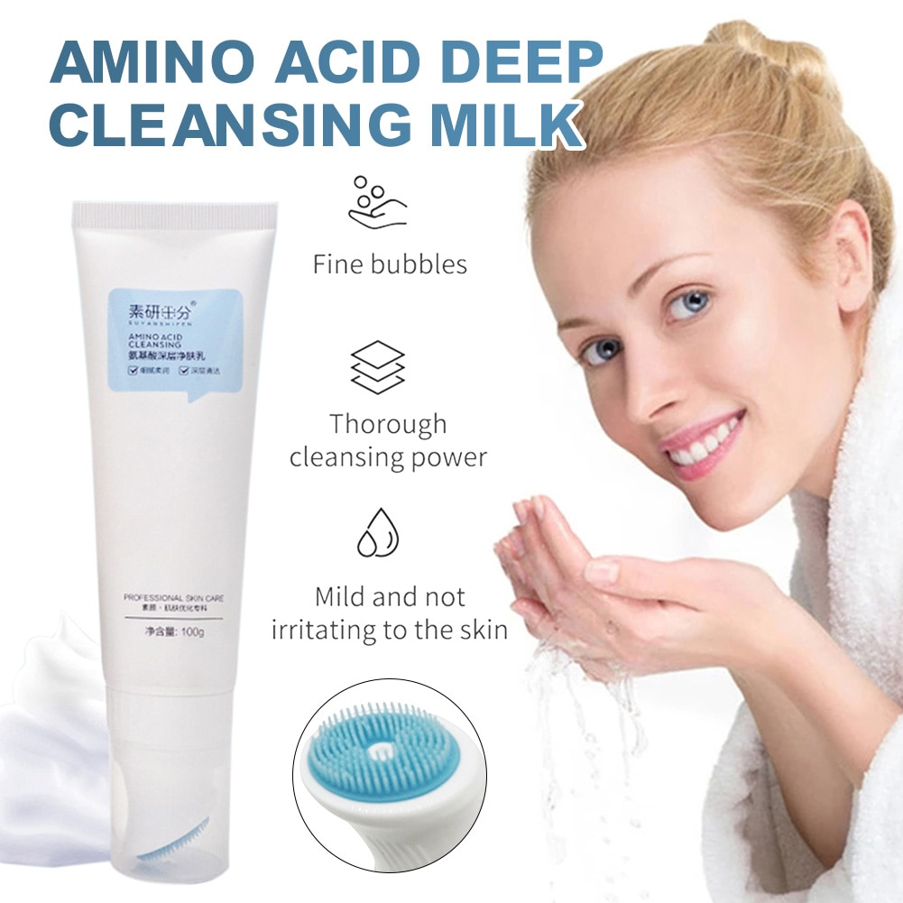 Фото - Facial Cleansing Cream Amino Acid Gentle Cream Cleanser with Brush for Deep Cleaning Exfoliating Daily Cleanser clarins hydrating gentle foaming cleanser