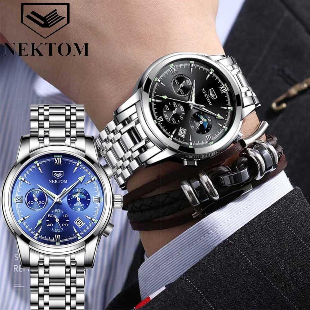 Relógios para Homens Relógio de Aço Inoxidável à Prova Relógio de Quartzo Relógio de Pulso Moda Casual Esporte Marca Superior Luxo Dwaterproof Água Cronógrafo