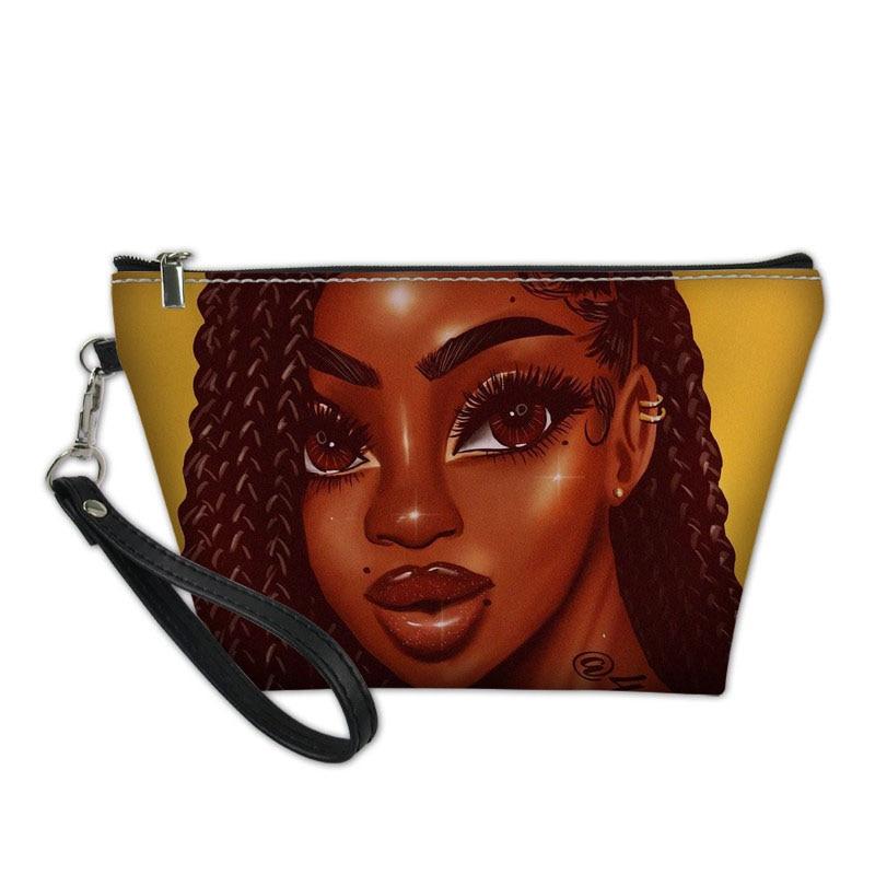 Черные женские художественные африканские косметички для макияжа, дамские функциональные косметички, Женский органайзер, сумка для туалет...