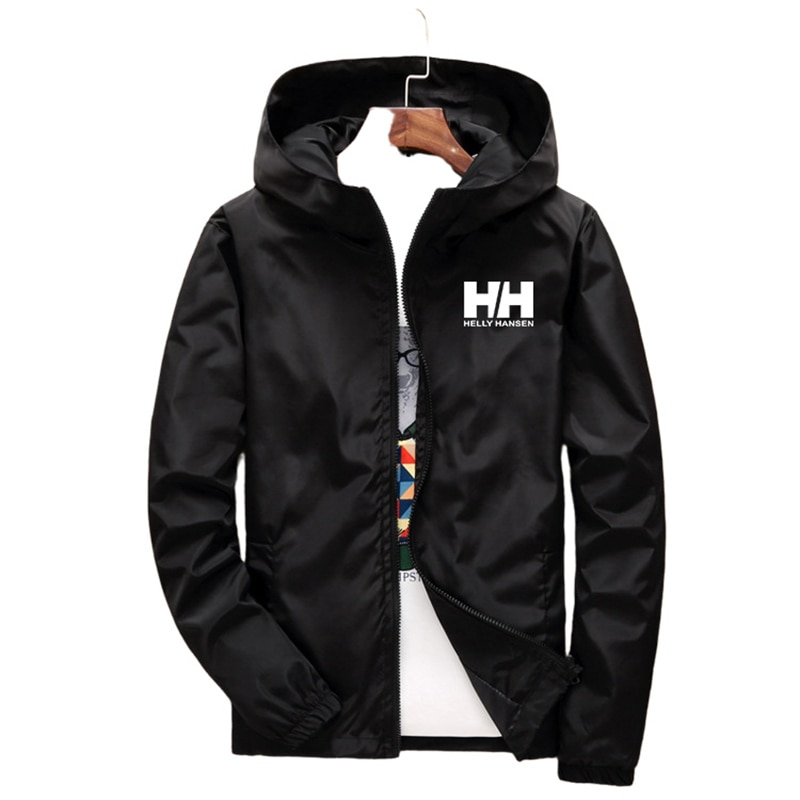 Men's Coat Jacket Spring Summer New Brand Logo Printing Street Windbreaker Hoodie Zipper Thin Jacket
