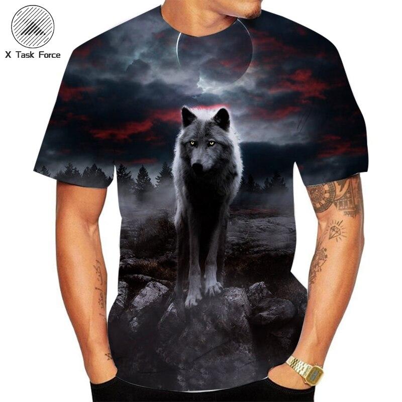 2020 männer Neue Sommer Personalisierte T-Shirt Wolf Print T-Shirt 3D männer T-Shirt Männer der Kurzen SleeveT-Shirt neuheit Tier Tops