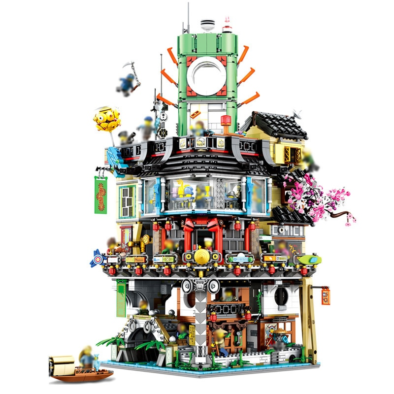 Maestros de Spinjitzu ciudad Ninja, sede de construcción de bloques de construcción Modular Compatible Lepining juguete educativo 70620